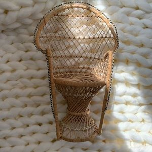 Vintage Accents - Small Vintage Rattan Peacock Rattan Planter